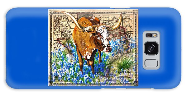 Texas Longhorn In Bluebonnets Galaxy Case