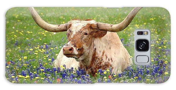 Texas Longhorn In Bluebonnets Galaxy Case