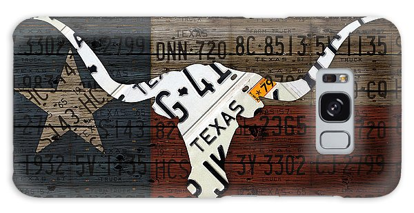 Recycle Galaxy Case - Texas Longhorn Recycled Vintage License Plate Art On Lone Star State Flag Wood Background by Design Turnpike