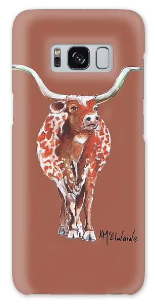 Texas Longhorn Taking The Lead Watercolor Painting By Kmcelwaine Galaxy Case