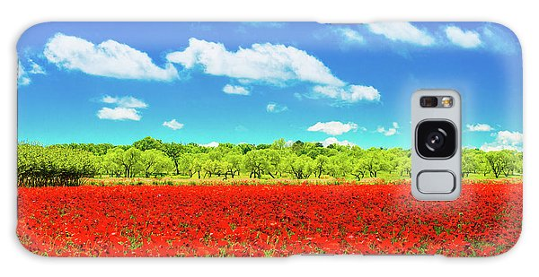 Texas Red Poppies Galaxy Case