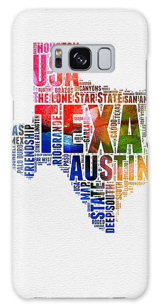 Austin Galaxy S8 Case - Texas Watercolor Word Cloud  by Naxart Studio