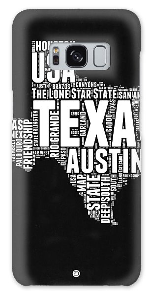 Austin Galaxy Case - Texas Word Cloud Black And White Map by Naxart Studio