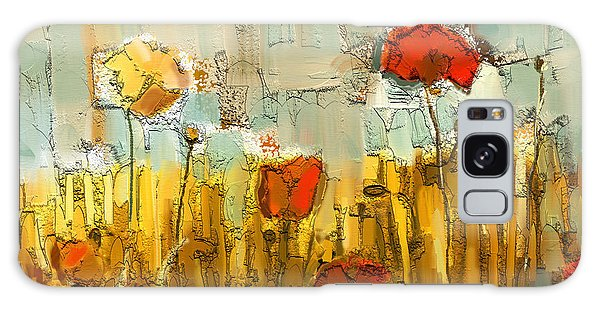 Cottage Galaxy Case - Textured Poppies by Carrie Joy Byrnes