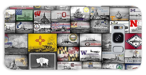 Galaxy Case featuring the digital art The 50 States And Their Battleships by JC Findley
