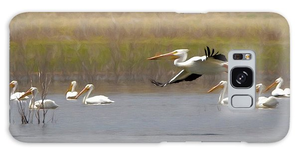 The American White Pelicans Galaxy Case by Ernie Echols