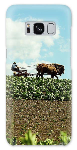 The Amish Farmer With Horses In Tobacco Field Galaxy Case