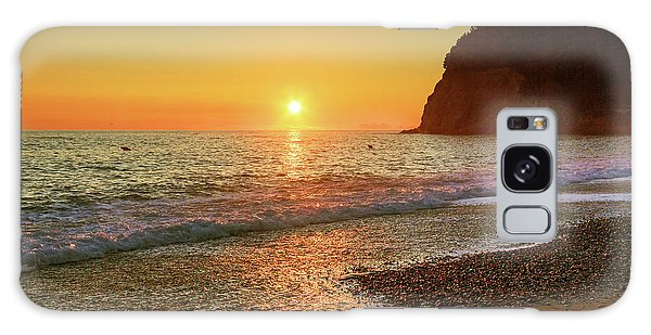 the beach and the Mediterranean sea in Montenegro in the summer at sunset Galaxy Case