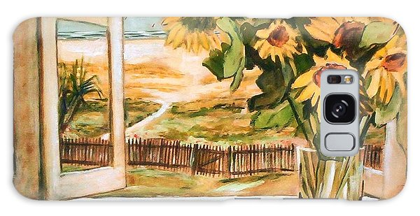 The Beach Sunflowers Galaxy Case by Winsome Gunning