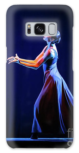 Galaxy Case featuring the photograph The Beautiful Ballerina Dancing In Blue Long Dress by Dimitar Hristov