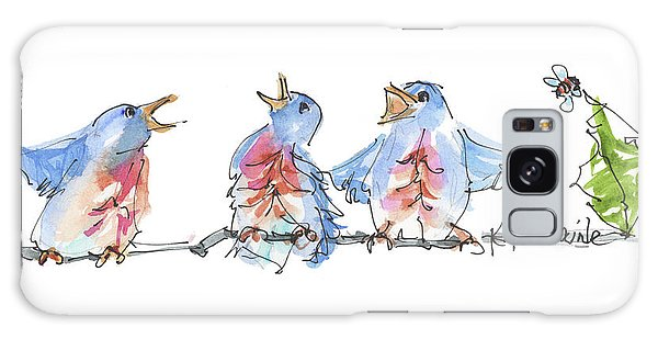 The Birds And The Bee Bird Art Watercolor Painting By Kmcelwaine Galaxy Case