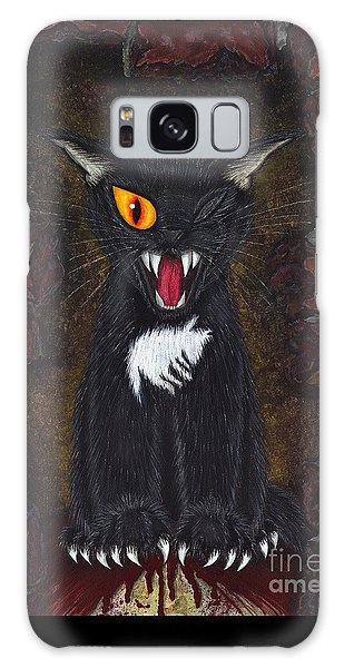 Galaxy Case featuring the painting The Black Cat Edgar Allan Poe by Carrie Hawks