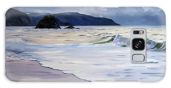 Galaxy Case featuring the painting The Black Rock Widemouth Bay by Lawrence Dyer