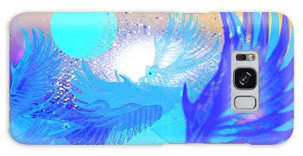 The Blue Avians Galaxy Case by Ute Posegga-Rudel