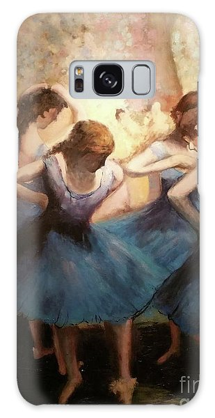 Galaxy Case featuring the painting The Blue Ballerinas - A Edgar Degas Artwork Adaptation by Rosario Piazza