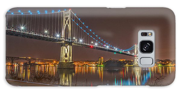 The Bridge With Blue Holiday Lights Galaxy Case by Angelo Marcialis