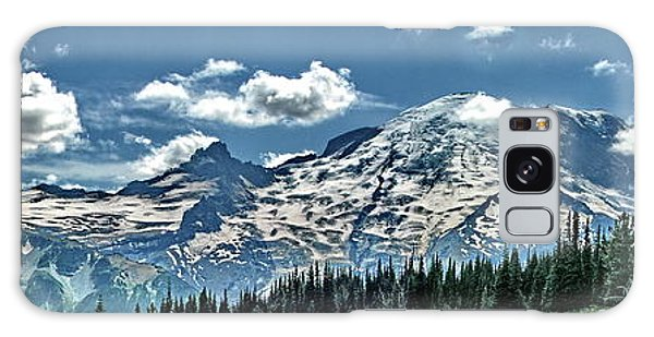 The Cascade Mountains And Mt. Rainier Galaxy Case by Ansel Price