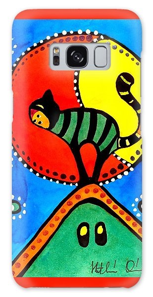The Cat And The Moon - Cat Art By Dora Hathazi Mendes Galaxy Case by Dora Hathazi Mendes