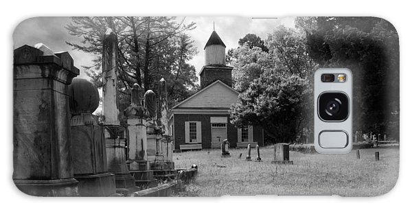 The Cemetery At Harshaw Chapel In Black And White Galaxy Case