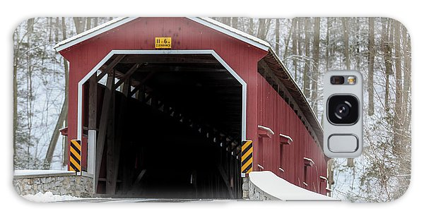The Colemansville Covered Bridge In Winter Galaxy Case
