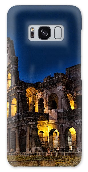 The Coleseum In Rome At Night Galaxy Case by David Smith