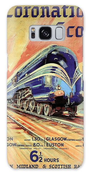 The Coronation Scot - Vintage Blue Locomotive Train - Vintage Travel Advertising Poster Galaxy Case