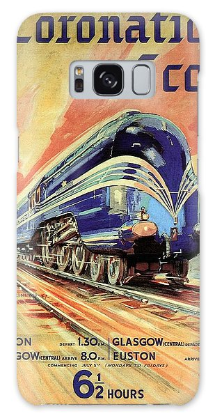 The Coronation Scot - Vintage Blue Locomotive Train - Vintage Travel Advertising Poster Galaxy Case