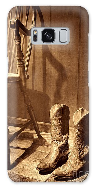 The Cowgirl Boots And The Old Chair Galaxy Case by American West Legend By Olivier Le Queinec