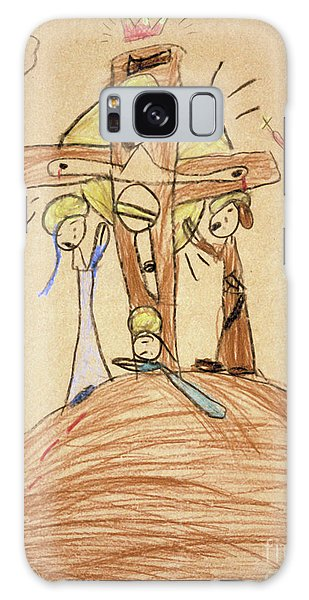Galaxy Case featuring the drawing The Crucifixion By Fr. Bill At Age 5 by William Hart McNichols