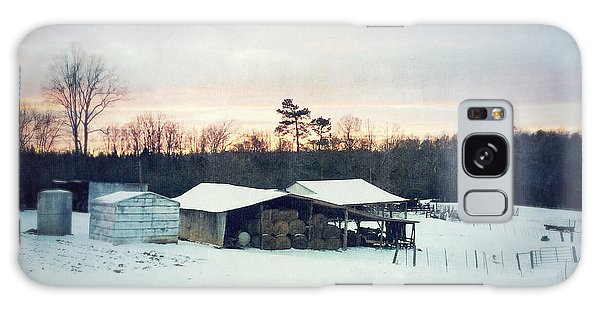 The Farm In Snow At Sunset Galaxy Case
