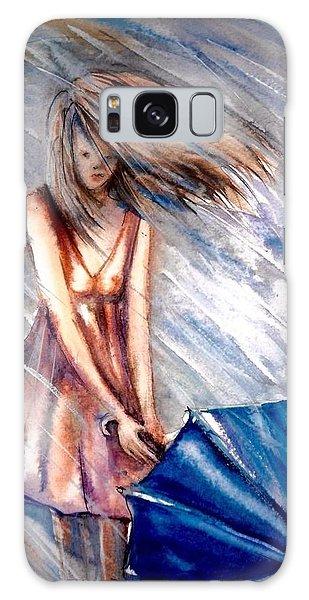 The Girl With A Blue Umbrella Galaxy Case