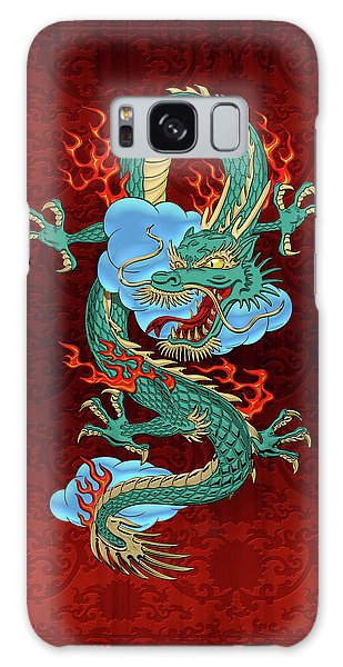 The Great Dragon Spirits - Turquoise Dragon On Red Silk Galaxy Case by Serge Averbukh