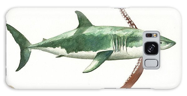 Sharks Galaxy Case - The Great White Shark And The Octopus by Juan Bosco