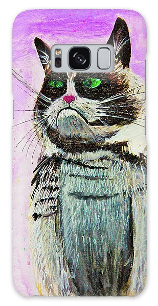 Galaxy Case featuring the painting The Grumpy Cat From The Internets by eVol i