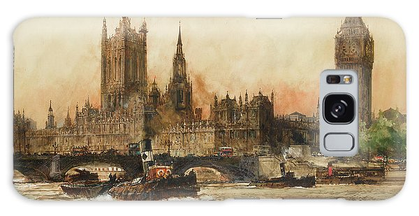 Houses Of Parliament Galaxy Case - The Houses Of Parliament From The Thames by Charles Edward Dixon