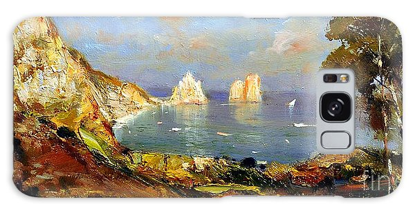Galaxy Case featuring the painting The Island Of Capri And The Faraglioni by Rosario Piazza