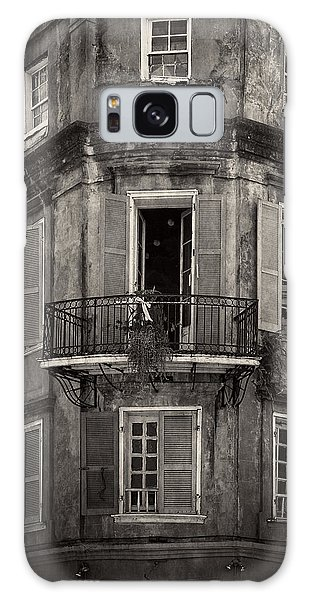 The Lone Balcony Of New Orleans In Black And White Galaxy Case