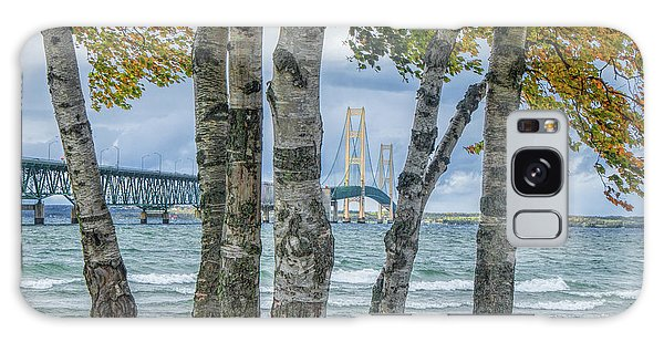 The Mackinaw Bridge By The Straits Of Mackinac In Autumn With Birch Trees Galaxy Case