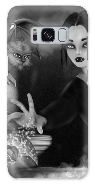 The Magic Rose - Black And White Fantasy Art Galaxy Case