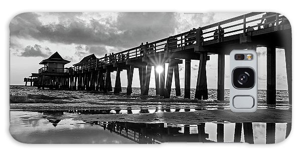 Naples Pier At Sunset Naples Florida Black And White Galaxy Case