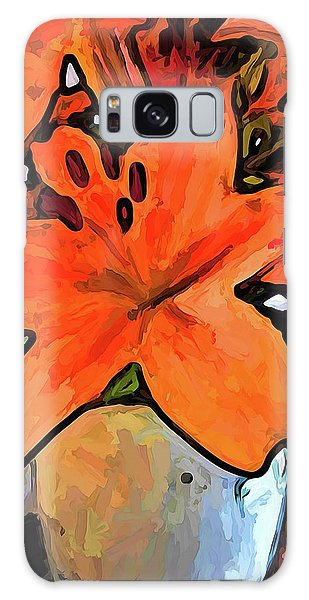 The Orange Lilies In The Mother Of Pearl Vase Galaxy Case
