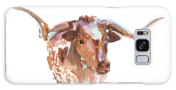 The Original Longhorn Standing Earth Quack Watercolor Painting By Kmcelwaine Galaxy Case