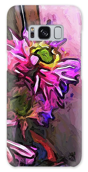 The Pink And Purple Flower By The Pale Pink Wall Galaxy Case