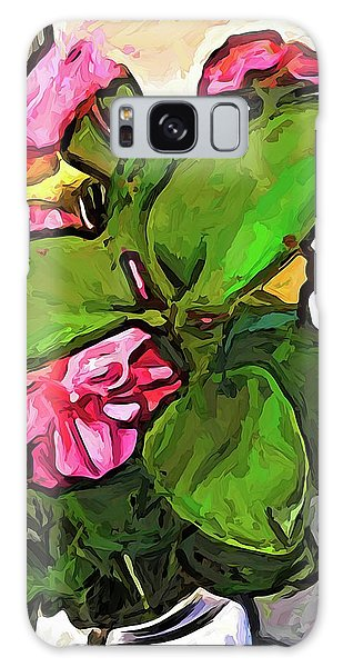 The Pink Flowers Behind The Green Leaves Galaxy Case