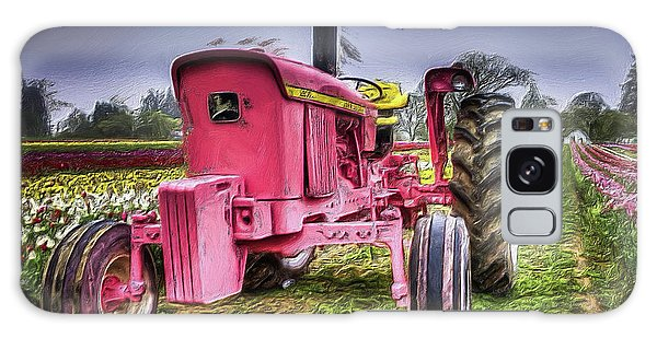 The Pink Tractor At The Wooden Shoe Tulip Farm Galaxy Case by Thom Zehrfeld