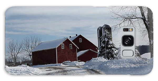 The Red Barn In The Snow Galaxy Case