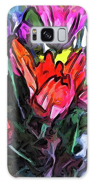 The Red Flower And The Rainbow Flowers Galaxy Case