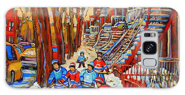 The Red Staircase Painting By Montreal Streetscene Artist Carole Spandau Galaxy Case