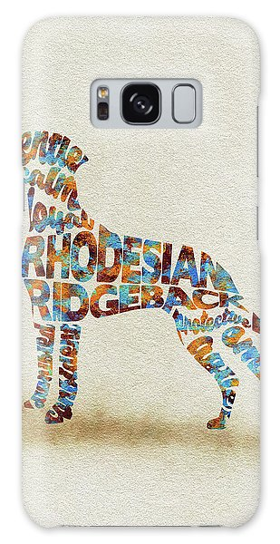 Galaxy Case featuring the painting The Rhodesian Ridgeback Dog Watercolor Painting / Typographic Art by Inspirowl Design