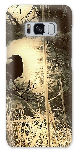 The Robin And The Wren Are Flown. Winter Crow Galaxy Case by Michele Carter